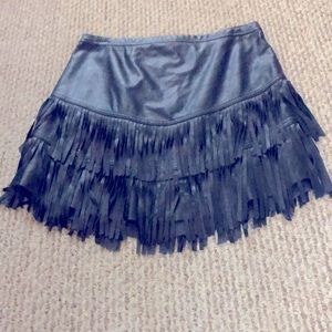 A&F faux leather fringed mini skirt
